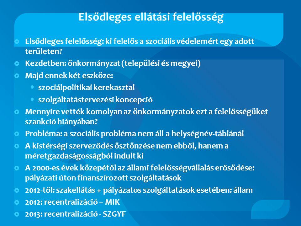 Elsődleges ellátási felelősség  Elsődleges felelősség: ki felelős a szociális védelemért egy adott területen.