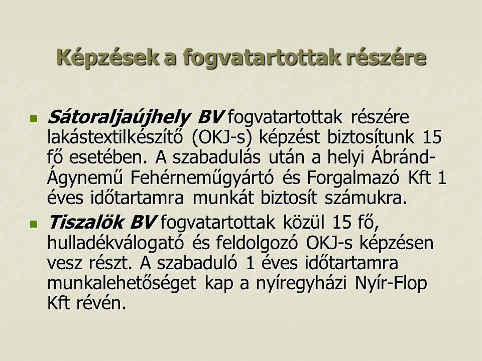 Képzések a fogvatartottak részére  Sátoraljaújhely BV fogvatartottak részére lakástextilkészítő (OKJ-s) képzést biztosítunk 15 fő esetében. A szabadu