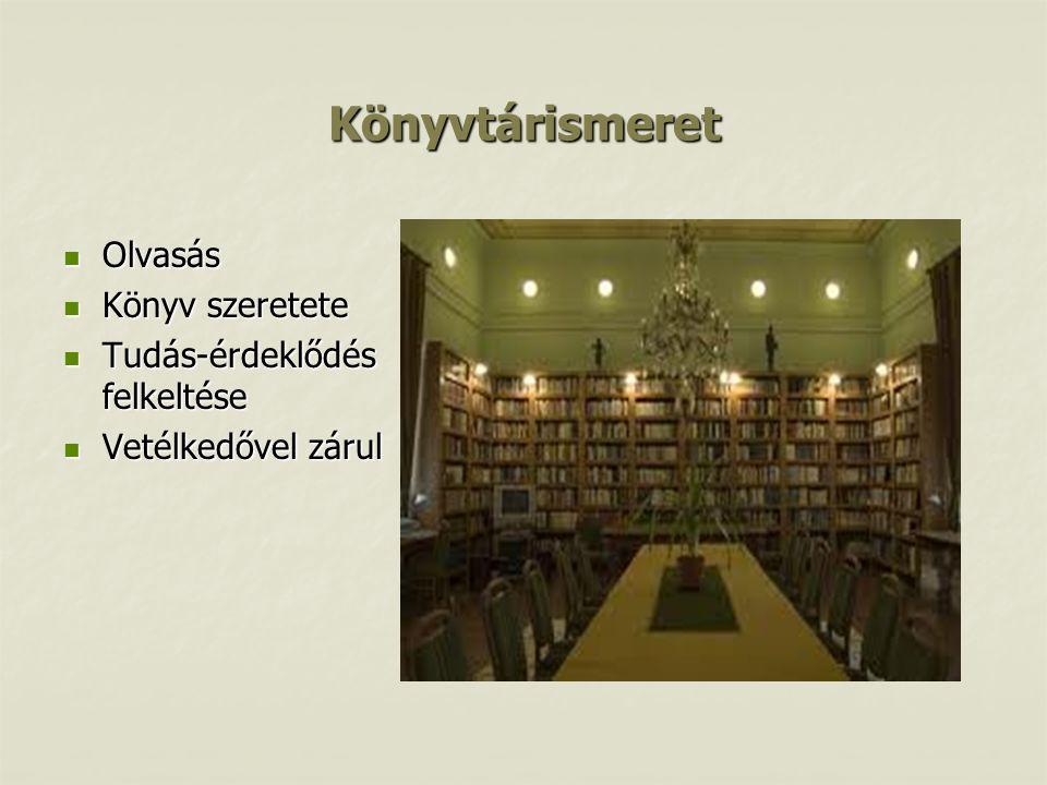 Könyvtárismeret  Olvasás  Könyv szeretete  Tudás-érdeklődés felkeltése  Vetélkedővel zárul