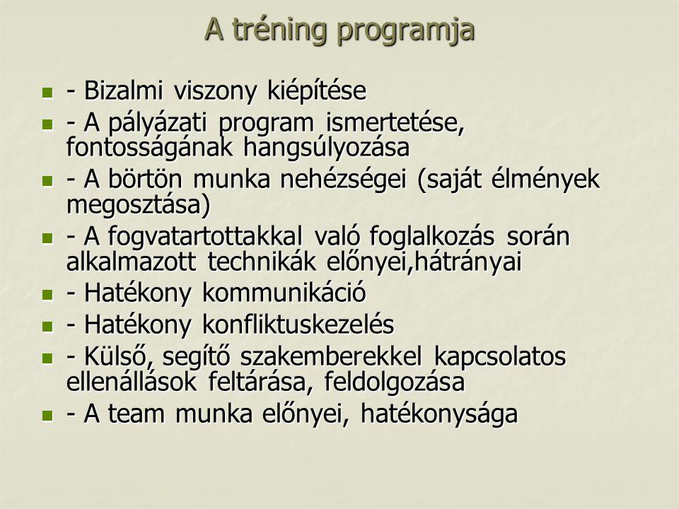 A tréning programja  - Bizalmi viszony kiépítése  - A pályázati program ismertetése, fontosságának hangsúlyozása  - A börtön munka nehézségei (sajá