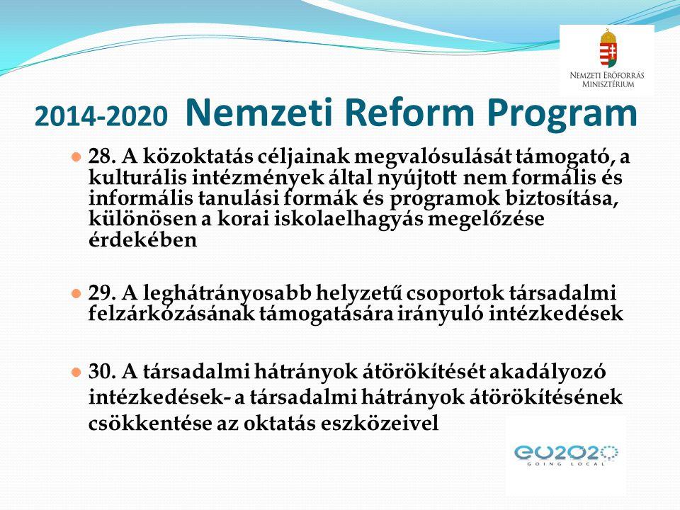 2014-2020 Nemzeti Reform Program  28. A k ö zoktat á s c é ljainak megval ó sul á s á t t á mogat ó, a kultur á lis int é zm é nyek á ltal ny ú jtott