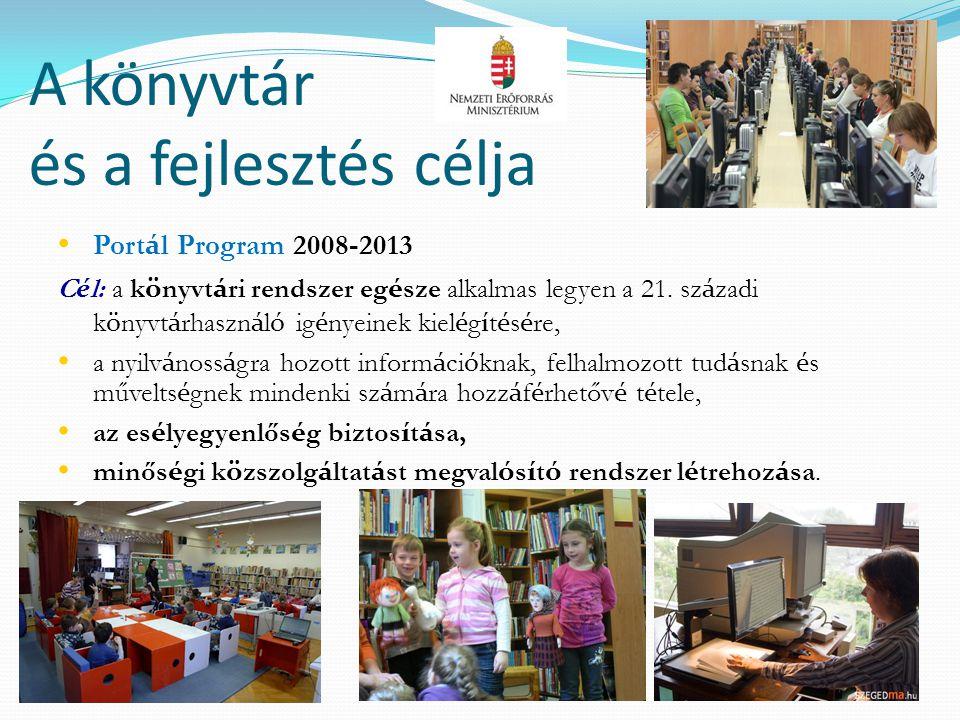 A könyvtár és a fejlesztés célja • Port á l Program 2008-2013 C é l: a k ö nyvt á ri rendszer eg é sze alkalmas legyen a 21. sz á zadi k ö nyvt á rhas