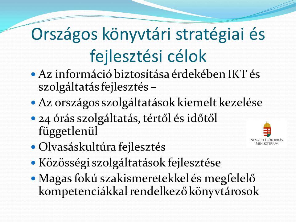 Országos könyvtári stratégiai és fejlesztési célok  Az információ biztosítása érdekében IKT és szolgáltatás fejlesztés –  Az országos szolgáltatások