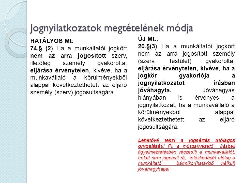 Jognyilatkozatok megtételének módja HATÁLYOS Mt: 74.§ (2) Ha a munkáltatói jogkört nem az arra jogosított szerv, illetőleg személy gyakorolta, eljárás