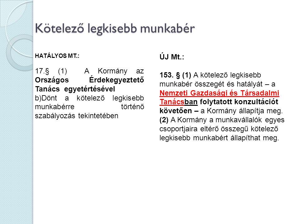 Kötelező legkisebb munkabér HATÁLYOS MT.: 17.§ (1) A Kormány az Országos Érdekegyeztető Tanács egyetértésével b)Dönt a kötelező legkisebb munkabérre t