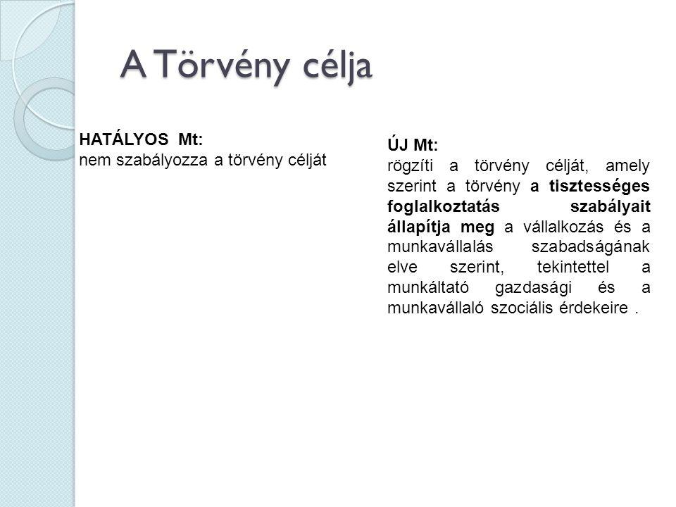 A törvény hatálya Régi Mt.: területi hatály 1§(1) : E törvény hatálya - ha a nemzetközi magánjog szabályai eltérően nem rendelkeznek - kiterjed minden olyan munkaviszonyra, amelynek alapján a munkát a Magyar Köztársaság területén végzik, továbbá, amelynél a magyar munkáltató munkavállalója a munkát ideiglenes jelleggel külföldön végzi.