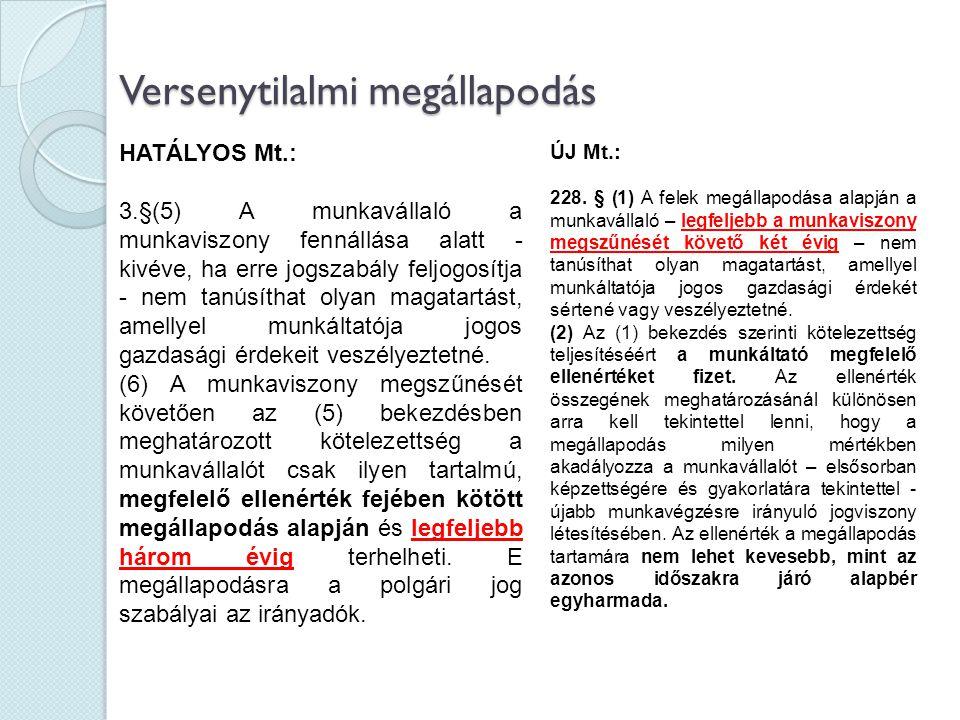 Versenytilalmi megállapodás HATÁLYOS Mt.: 3.§(5) A munkavállaló a munkaviszony fennállása alatt - kivéve, ha erre jogszabály feljogosítja - nem tanúsí