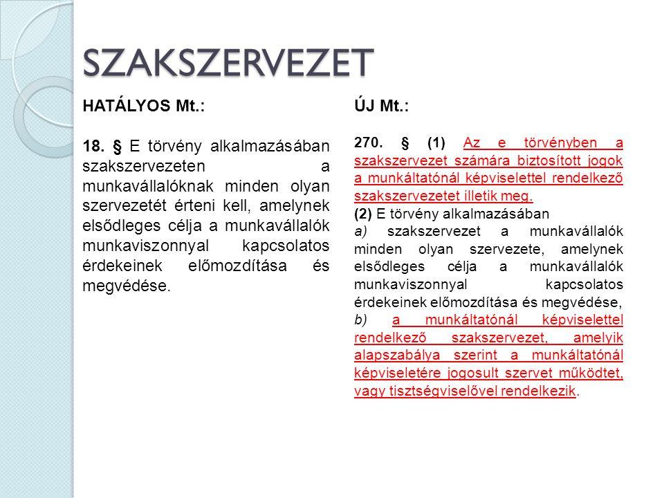 SZAKSZERVEZET HATÁLYOS Mt.: 18. § E törvény alkalmazásában szakszervezeten a munkavállalóknak minden olyan szervezetét érteni kell, amelynek elsődlege