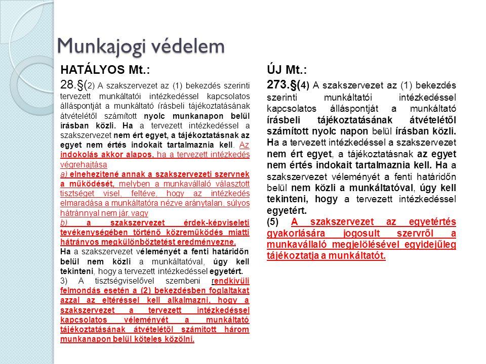 Munkajogi védelem HATÁLYOS Mt.: 28.§( 2) A szakszervezet az (1) bekezdés szerinti tervezett munkáltatói intézkedéssel kapcsolatos álláspontját a munká