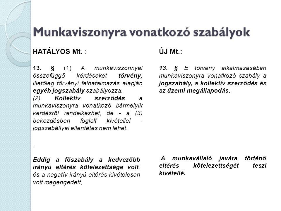 Munkaviszonyra vonatkozó szabályok HATÁLYOS Mt. : 13. § (1) A munkaviszonnyal összefüggő kérdéseket törvény, illetőleg törvényi felhatalmazás alapján