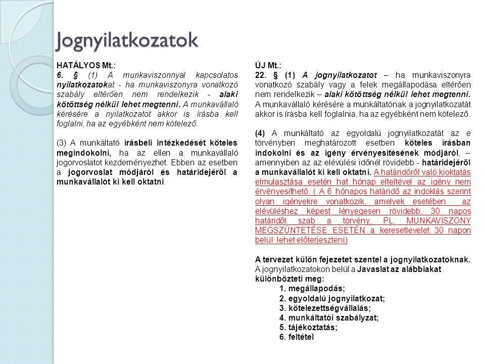 Jognyilatkozatok HATÁLYOS Mt.: 6. § (1) A munkaviszonnyal kapcsolatos nyilatkozatokat - ha munkaviszonyra vonatkozó szabály eltérően nem rendelkezik -