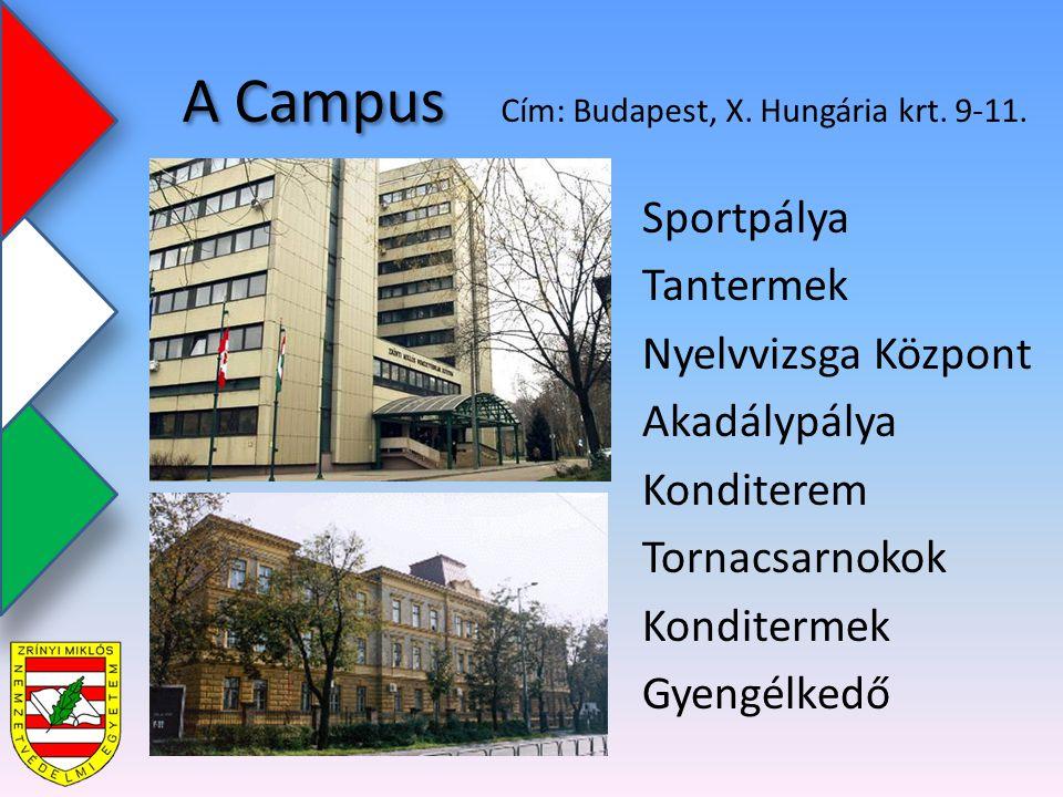 A Campus Sportpálya Tantermek Nyelvvizsga Központ Akadálypálya Konditerem Tornacsarnokok Konditermek Gyengélkedő Cím: Budapest, X.