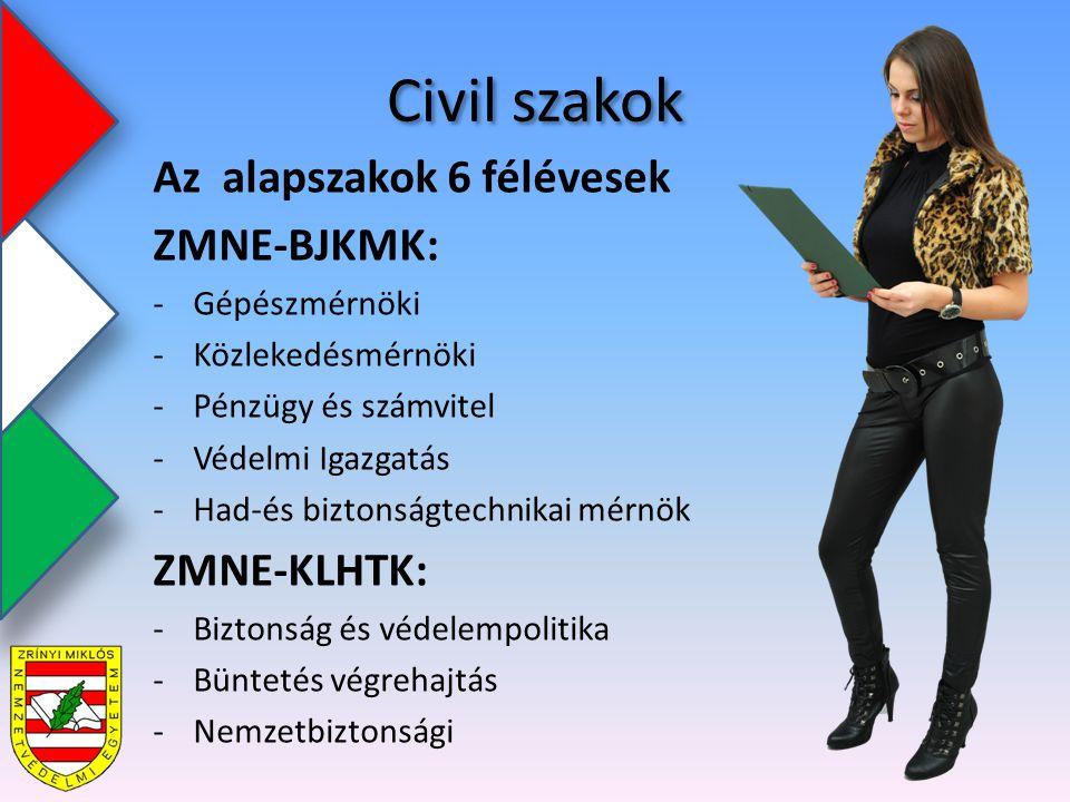 Civil szakok Az alapszakok 6 félévesek ZMNE-BJKMK: -Gépészmérnöki -Közlekedésmérnöki -Pénzügy és számvitel -Védelmi Igazgatás -Had-és biztonságtechnikai mérnök ZMNE-KLHTK: -Biztonság és védelempolitika -Büntetés végrehajtás -Nemzetbiztonsági