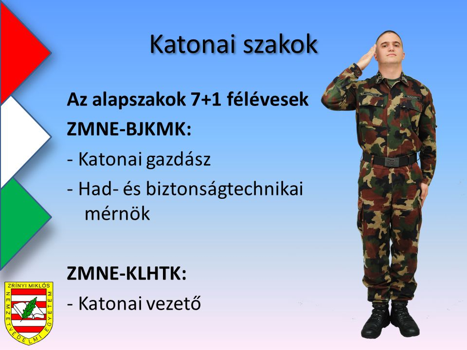 Katonai szakok Az alapszakok 7+1 félévesek ZMNE-BJKMK: - Katonai gazdász - Had- és biztonságtechnikai mérnök ZMNE-KLHTK: - Katonai vezető