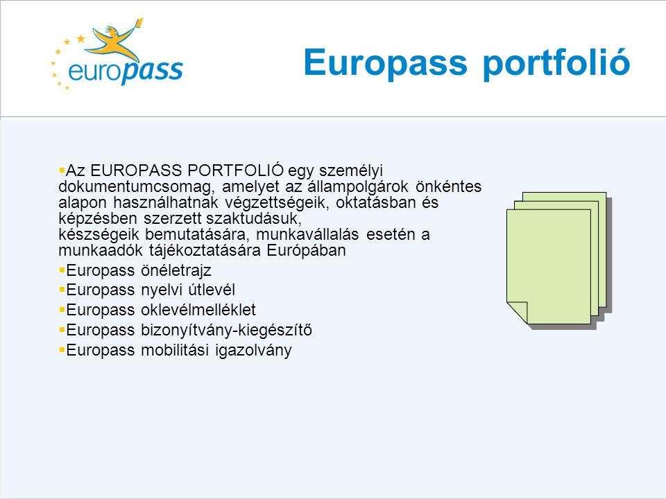 Europass portfolió  Az EUROPASS PORTFOLIÓ egy személyi dokumentumcsomag, amelyet az állampolgárok önkéntes alapon használhatnak végzettségeik, oktatá