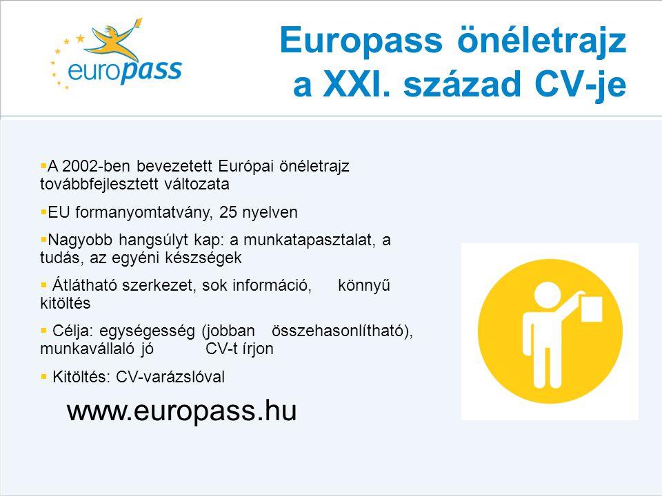 Europass önéletrajz a XXI. század CV-je  A 2002-ben bevezetett Európai önéletrajz továbbfejlesztett változata  EU formanyomtatvány, 25 nyelven  Nag