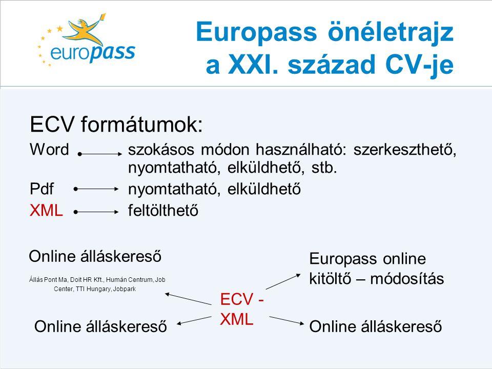 Nyelvi útlevél  A gyakorlati nyelvi készségeket és kompetenciákat rögzíti  EU formanyomtatvány, 25 nyelven  Gyakorlati nyelvtudás részletezése  Szövegértés, beszéd és írás kategóriában mutathatják be a nyelvtudásukat  Egységes szint- és kódrendszer  A tulajdonos tölti ki, önértékelés  Nem nyelvvizsgához kötött – könnyű frissítés www.europass.hu