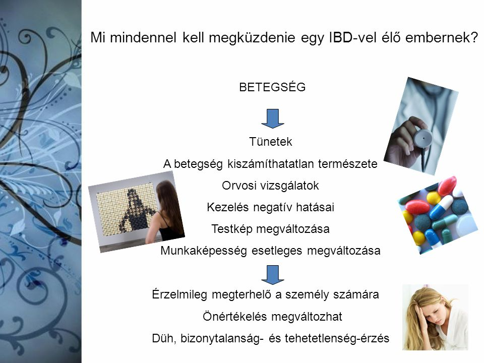Mi mindennel kell megküzdenie egy IBD-vel élő embernek? BETEGSÉG Tünetek A betegség kiszámíthatatlan természete Orvosi vizsgálatok Kezelés negatív hat