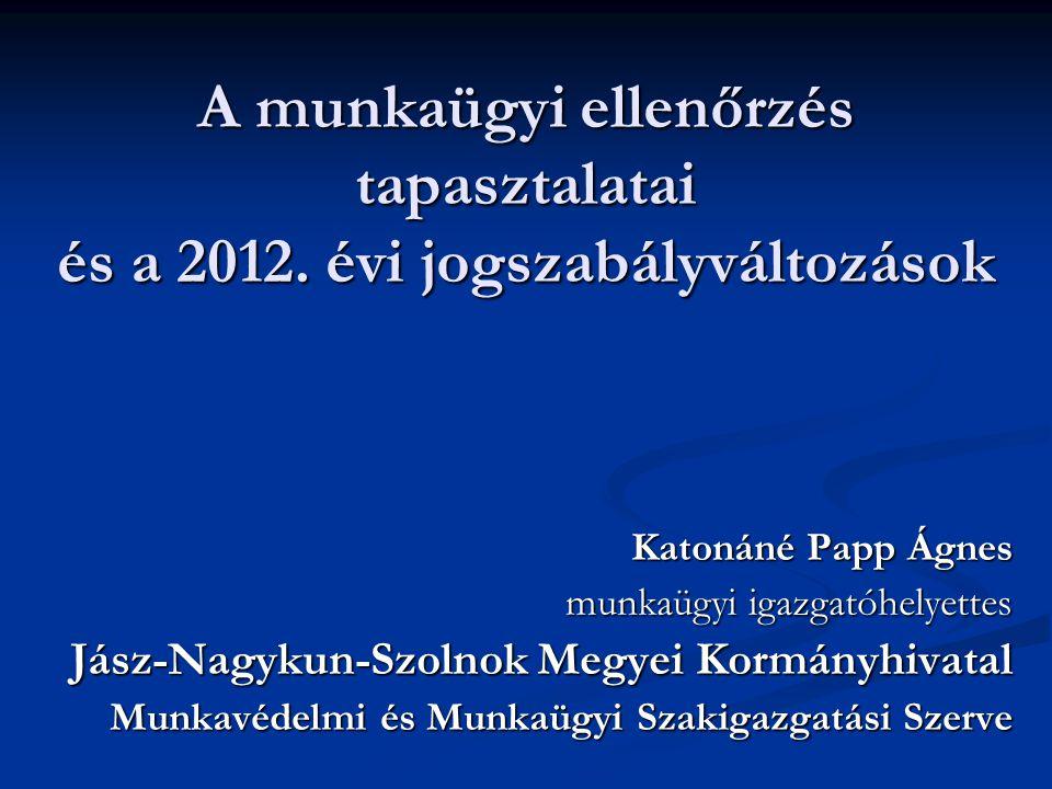 A munkaügyi ellenőrzés tapasztalatai és a 2012.