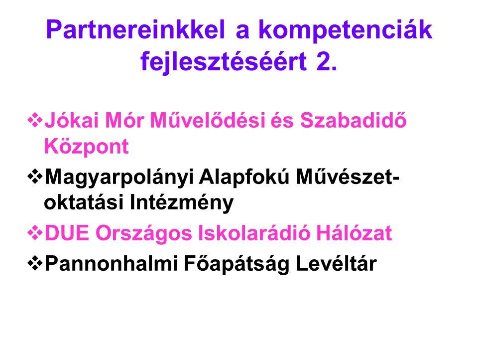 Partnereinkkel a kompetenciák fejlesztéséért 2.  Jókai Mór Művelődési és Szabadidő Központ  Magyarpolányi Alapfokú Művészet- oktatási Intézmény  DU