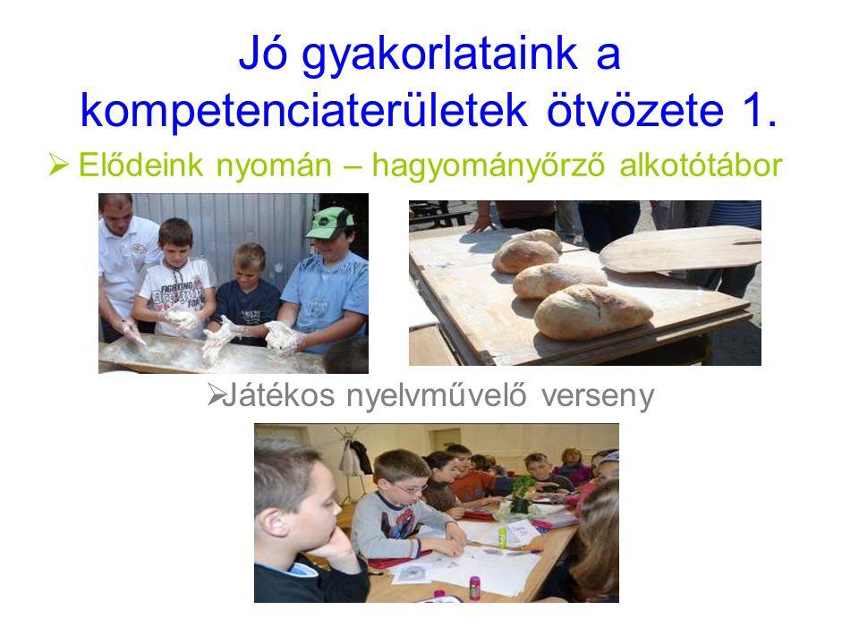 Jó gyakorlataink a kompetenciaterületek ötvözete 1.  Elődeink nyomán – hagyományőrző alkotótábor  Játékos nyelvművelő verseny