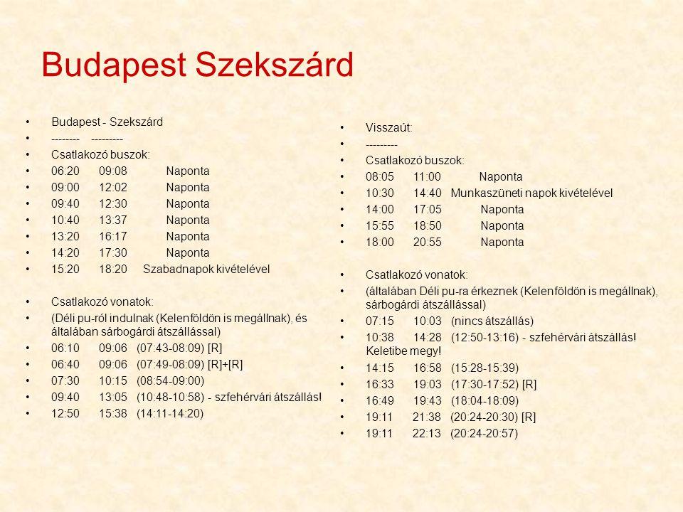 Budapest Szekszárd •Visszaút: •--------- •Csatlakozó buszok: •08:05 11:00 Naponta •10:30 14:40 Munkaszüneti napok kivételével •14:00 17:05 Naponta •15