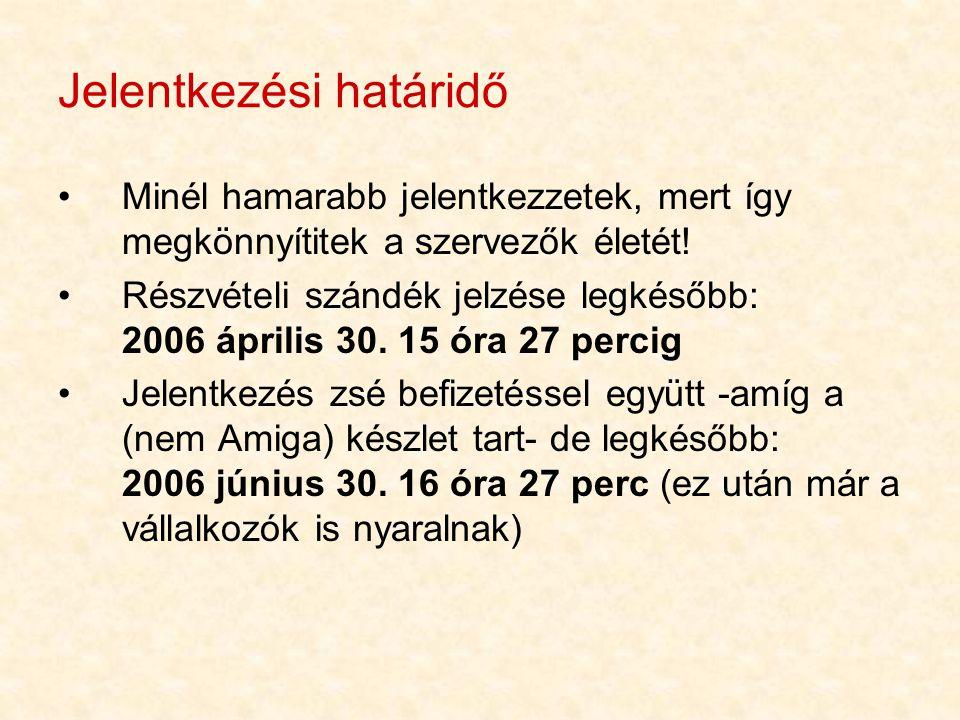 Jelentkezési határidő •Minél hamarabb jelentkezzetek, mert így megkönnyítitek a szervezők életét! •Részvételi szándék jelzése legkésőbb: 2006 április