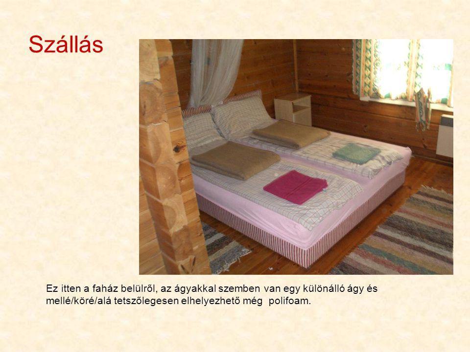 Szállás Ez itten a faház belülről, az ágyakkal szemben van egy különálló ágy és mellé/köré/alá tetszőlegesen elhelyezhető még polifoam.
