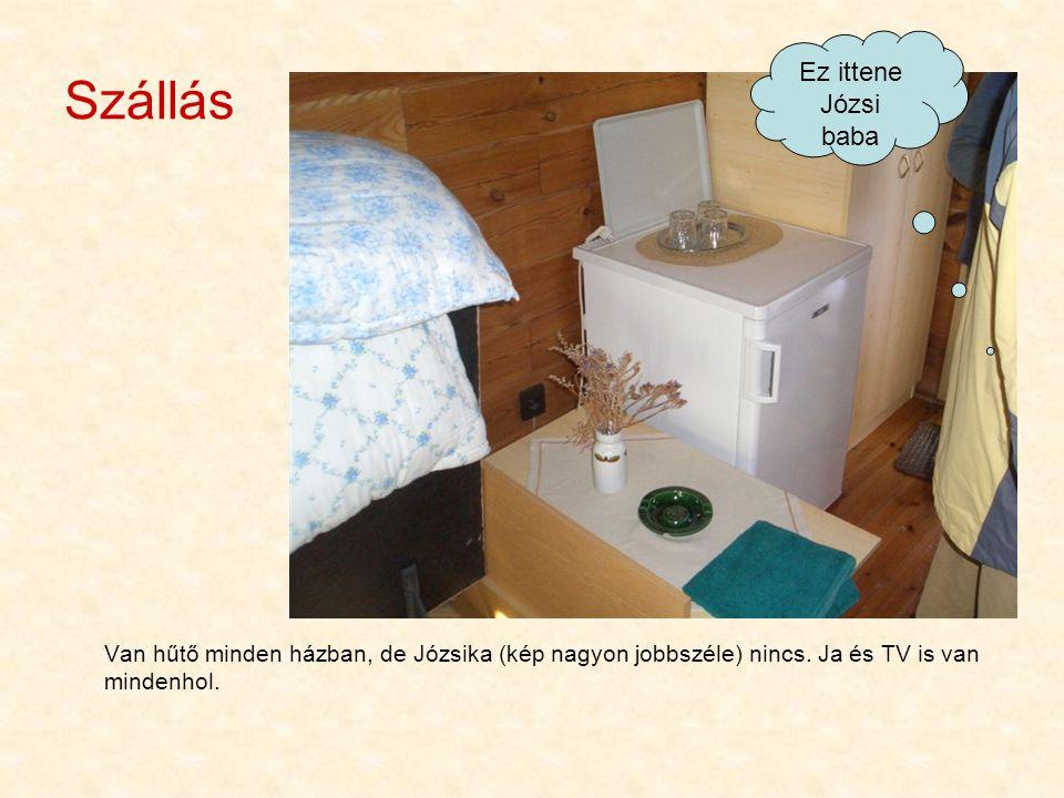 Szállás Van hűtő minden házban, de Józsika (kép nagyon jobbszéle) nincs. Ja és TV is van mindenhol. Ez ittene Józsi baba