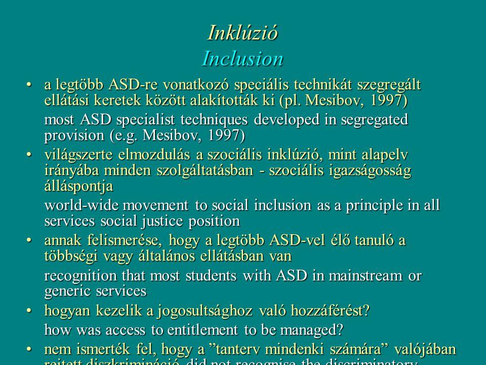 Inklúzió Inclusion •a legtöbb ASD-re vonatkozó speciális technikát szegregált ellátási keretek között alakították ki (pl.