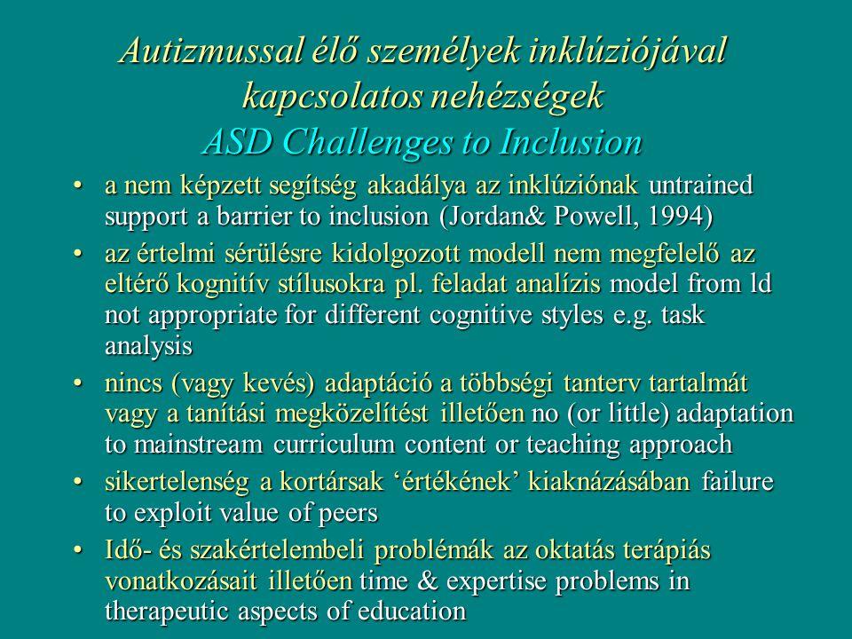 Autizmussal élő személyek inklúziójával kapcsolatos nehézségek ASD Challenges to Inclusion •a nem képzett segítség akadálya az inklúziónak untrained support a barrier to inclusion (Jordan& Powell, 1994) •az értelmi sérülésre kidolgozott modell nem megfelelő az eltérő kognitív stílusokra pl.