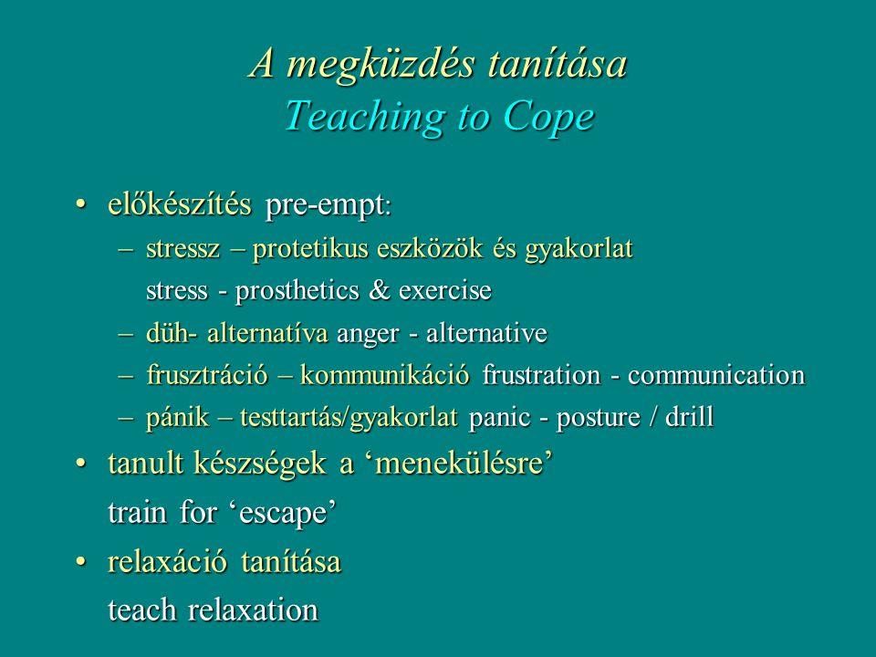 A megküzdés tanítása Teaching to Cope •előkészítés pre-empt : –stressz – protetikus eszközök és gyakorlat stress - prosthetics & exercise –düh- alternatíva anger - alternative –frusztráció – kommunikáció frustration - communication –pánik – testtartás/gyakorlat panic - posture / drill •tanult készségek a 'menekülésre' train for 'escape' •relaxáció tanítása teach relaxation