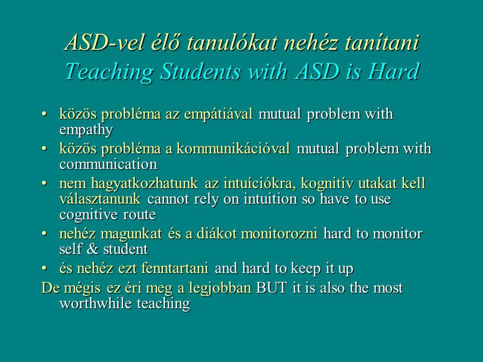 ASD-vel élő tanulókat nehéz tanítani Teaching Students with ASD is Hard •közös probléma az empátiával mutual problem with empathy •közös probléma a kommunikációval mutual problem with communication •nem hagyatkozhatunk az intuíciókra, kognitív utakat kell választanunk cannot rely on intuition so have to use cognitive route •nehéz magunkat és a diákot monitorozni hard to monitor self & student •és nehéz ezt fenntartani and hard to keep it up De mégis ez éri meg a legjobban BUT it is also the most worthwhile teaching