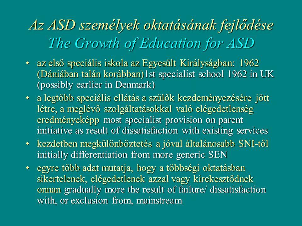 Az ASD személyek oktatásának fejlődése The Growth of Education for ASD •az első speciális iskola az Egyesült Királyságban: 1962 (Dániában talán korábban)1st specialist school 1962 in UK (possibly earlier in Denmark) •a legtöbb speciális ellátás a szülők kezdeményezésére jött létre, a meglévő szolgáltatásokkal való elégedetlenség eredményeképp most specialist provision on parent initiative as result of dissatisfaction with existing services •kezdetben megkülönböztetés a jóval általánosabb SNI-től initially differentiation from more generic SEN •egyre több adat mutatja, hogy a többségi oktatásban sikertelenek, elégedetlenek azzal vagy kirekesztődnek onnan gradually more the result of failure/ dissatisfaction with, or exclusion from, mainstream
