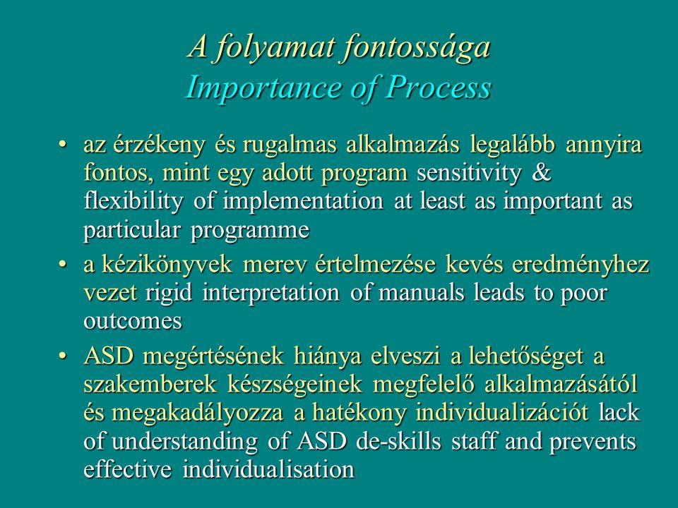 A folyamat fontossága Importance of Process •az érzékeny és rugalmas alkalmazás legalább annyira fontos, mint egy adott program sensitivity & flexibility of implementation at least as important as particular programme •a kézikönyvek merev értelmezése kevés eredményhez vezet rigid interpretation of manuals leads to poor outcomes •ASD megértésének hiánya elveszi a lehetőséget a szakemberek készségeinek megfelelő alkalmazásától és megakadályozza a hatékony individualizációt lack of understanding of ASD de-skills staff and prevents effective individualisation