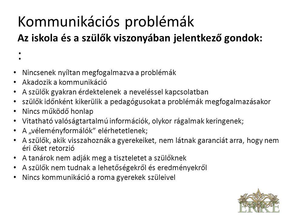 Kommunikációs problémák Az iskola belső kommunikációja: • nem egységes a tantestület; • Nincs bizalom a tanárok között • Keverednek az ügyek, érdekek A szülők és az önkormányzat, illetve az intézmény és a fenntartó közötti kommunikáció • Nincs kialakult rendszere az Önkormányzattal történő kapcsolattartásnak