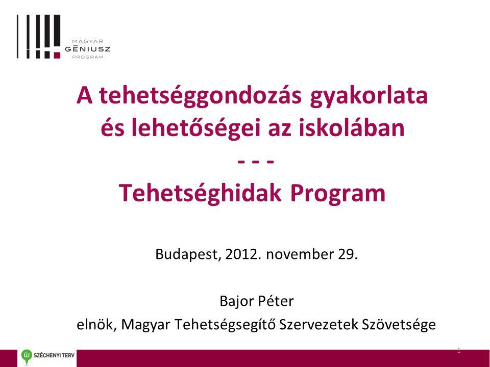 A tehetséggondozás gyakorlata és lehetőségei az iskolában - - - Tehetséghidak Program Budapest, 2012. november 29. Bajor Péter elnök, Magyar Tehetségs