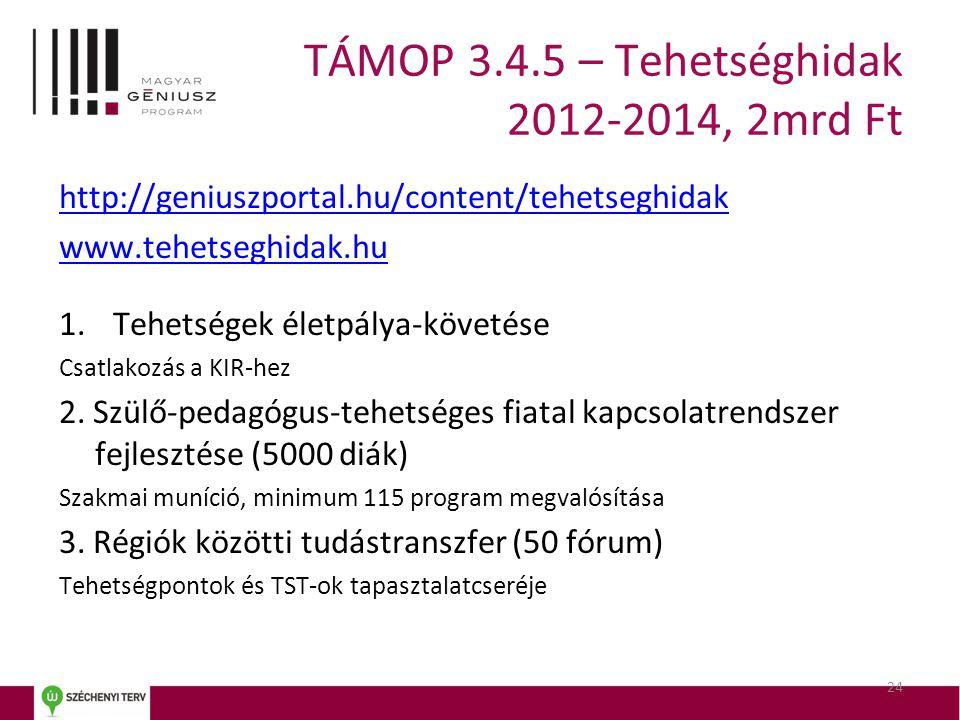 TÁMOP 3.4.5 – Tehetséghidak 2012-2014, 2mrd Ft http://geniuszportal.hu/content/tehetseghidak www.tehetseghidak.hu 1.Tehetségek életpálya-követése Csat