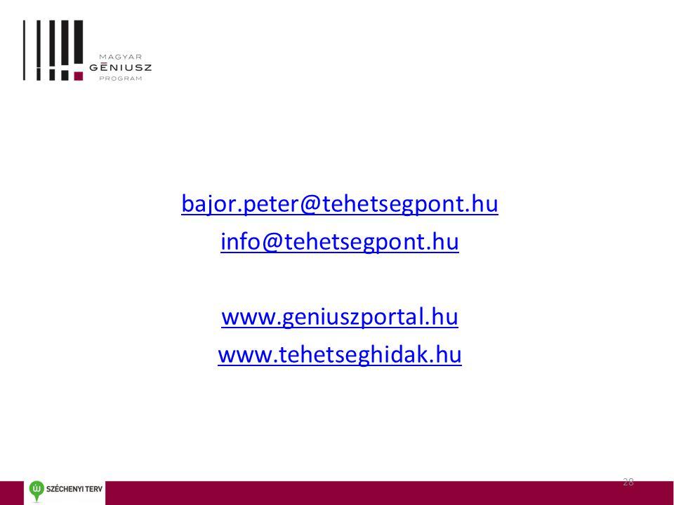 bajor.peter@tehetsegpont.hu info@tehetsegpont.hu www.geniuszportal.hu www.tehetseghidak.hu 28