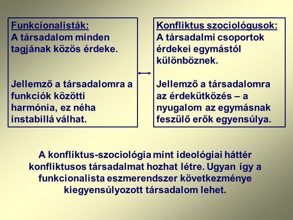 Funkcionalisták: A társadalom minden tagjának közös érdeke. Jellemző a társadalomra a funkciók közötti harmónia, ez néha instabillá válhat. Konfliktus