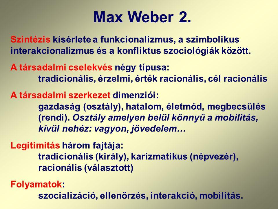 Max Weber 2. Szintézis kísérlete a funkcionalizmus, a szimbolikus interakcionalizmus és a konfliktus szociológiák között. A társadalmi cselekvés négy