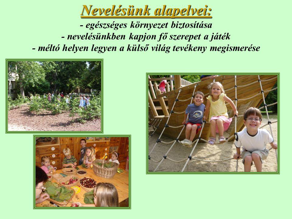 Nevelésünk alapelvei: Nevelésünk alapelvei: - egészséges környezet biztosítása - nevelésünkben kapjon fő szerepet a játék - méltó helyen legyen a küls