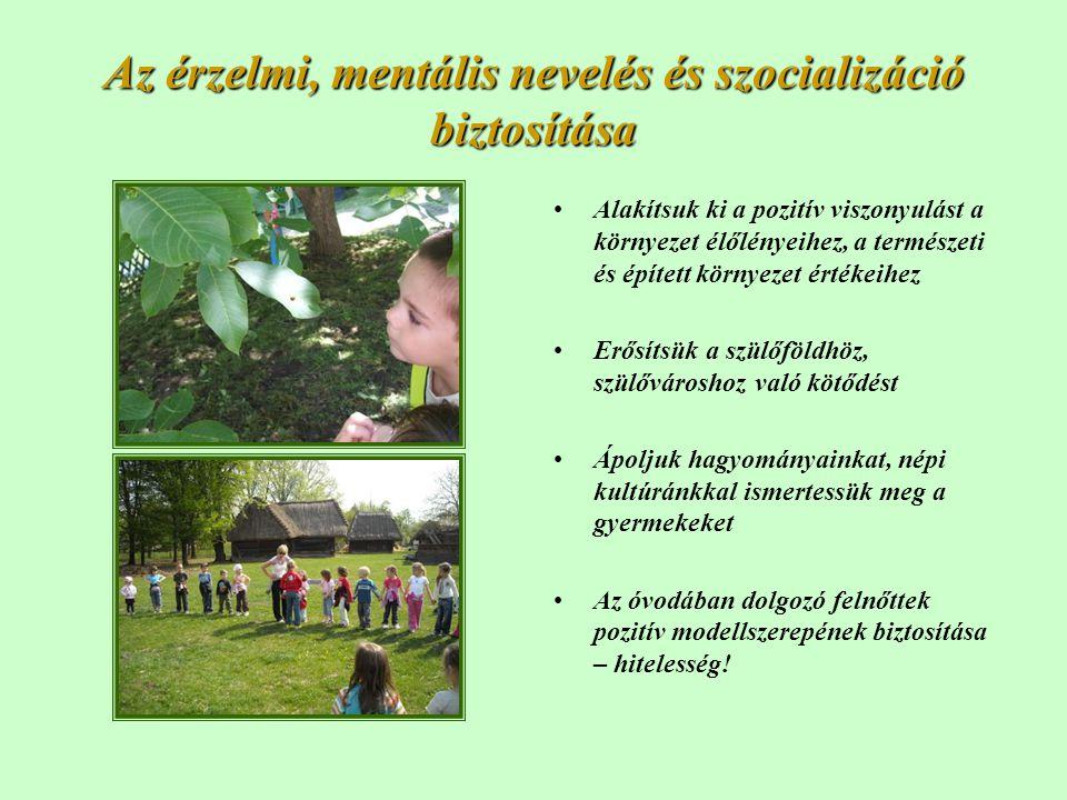 Az érzelmi, mentális nevelés és szocializáció biztosítása •Alakítsuk ki a pozitív viszonyulást a környezet élőlényeihez, a természeti és épített körny