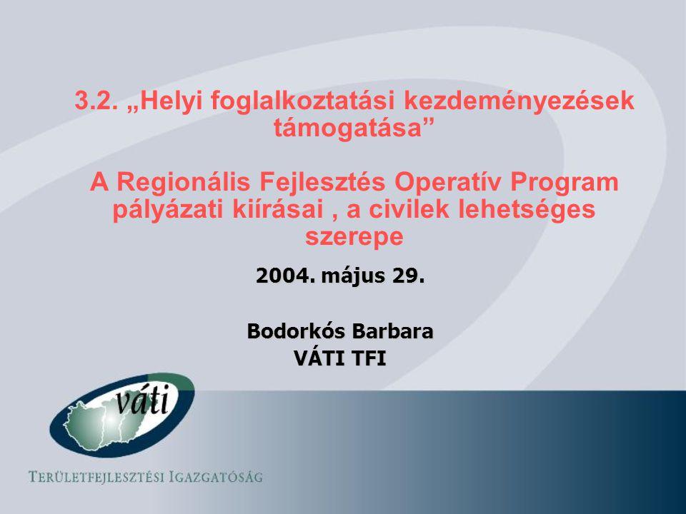 """3.2. """"Helyi foglalkoztatási kezdeményezések támogatása"""" A Regionális Fejlesztés Operatív Program pályázati kiírásai, a civilek lehetséges szerepe 2004"""