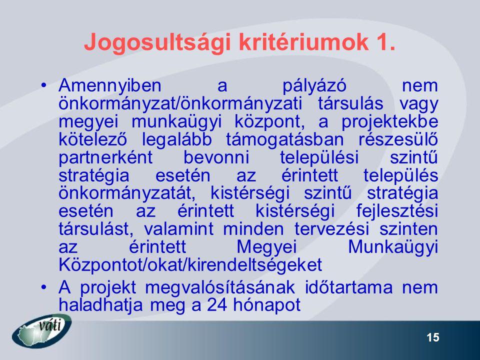 15 Jogosultsági kritériumok 1. •Amennyiben a pályázó nem önkormányzat/önkormányzati társulás vagy megyei munkaügyi központ, a projektekbe kötelező leg