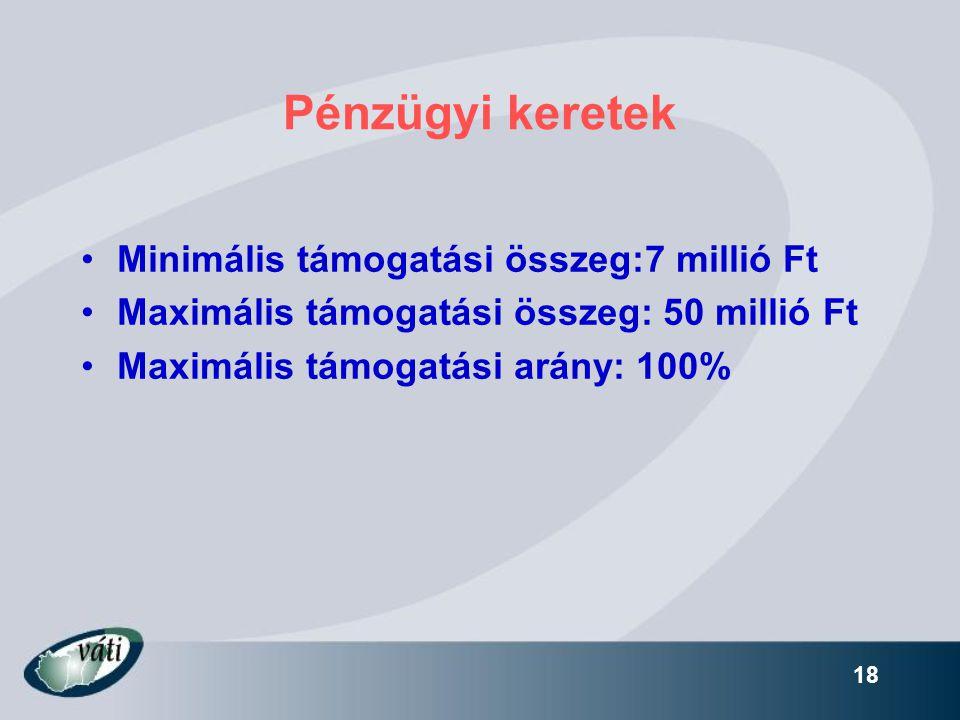 18 Pénzügyi keretek •Minimális támogatási összeg:7 millió Ft •Maximális támogatási összeg: 50 millió Ft •Maximális támogatási arány: 100%