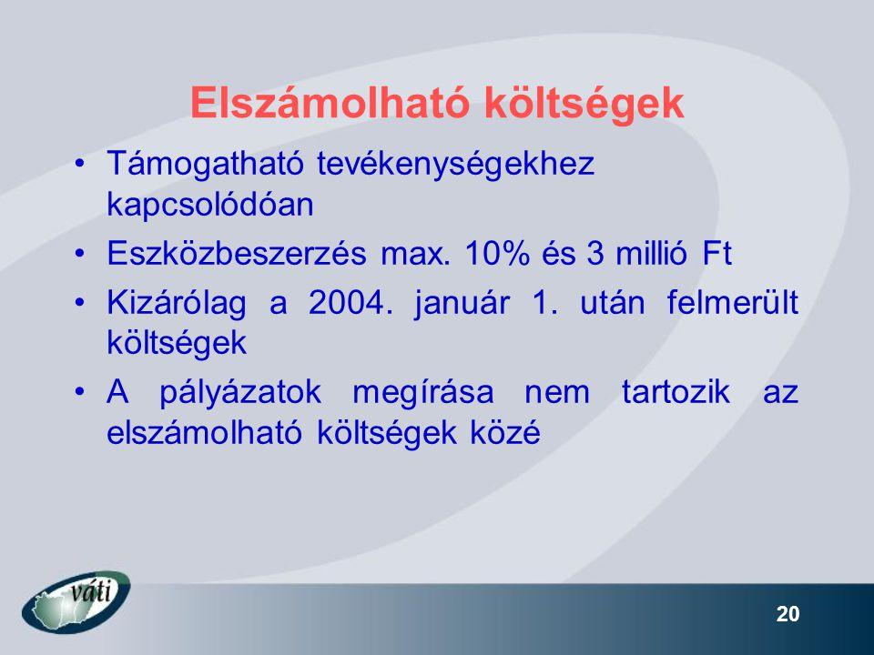 20 Elszámolható költségek •Támogatható tevékenységekhez kapcsolódóan •Eszközbeszerzés max. 10% és 3 millió Ft •Kizárólag a 2004. január 1. után felmer