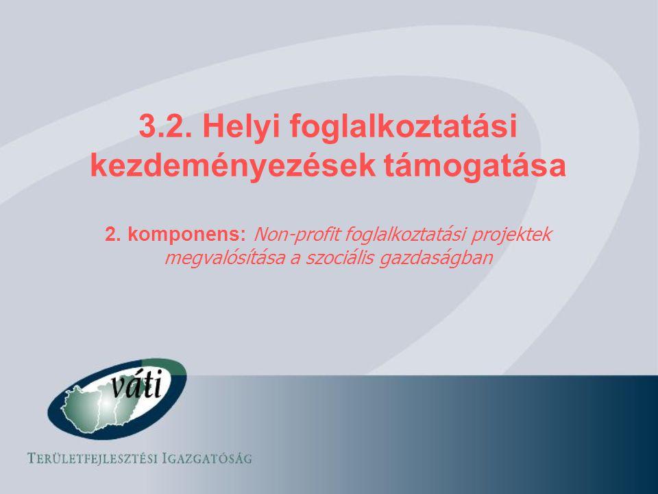 3.2. Helyi foglalkoztatási kezdeményezések támogatása 2. komponens: Non-profit foglalkoztatási projektek megvalósítása a szociális gazdaságban