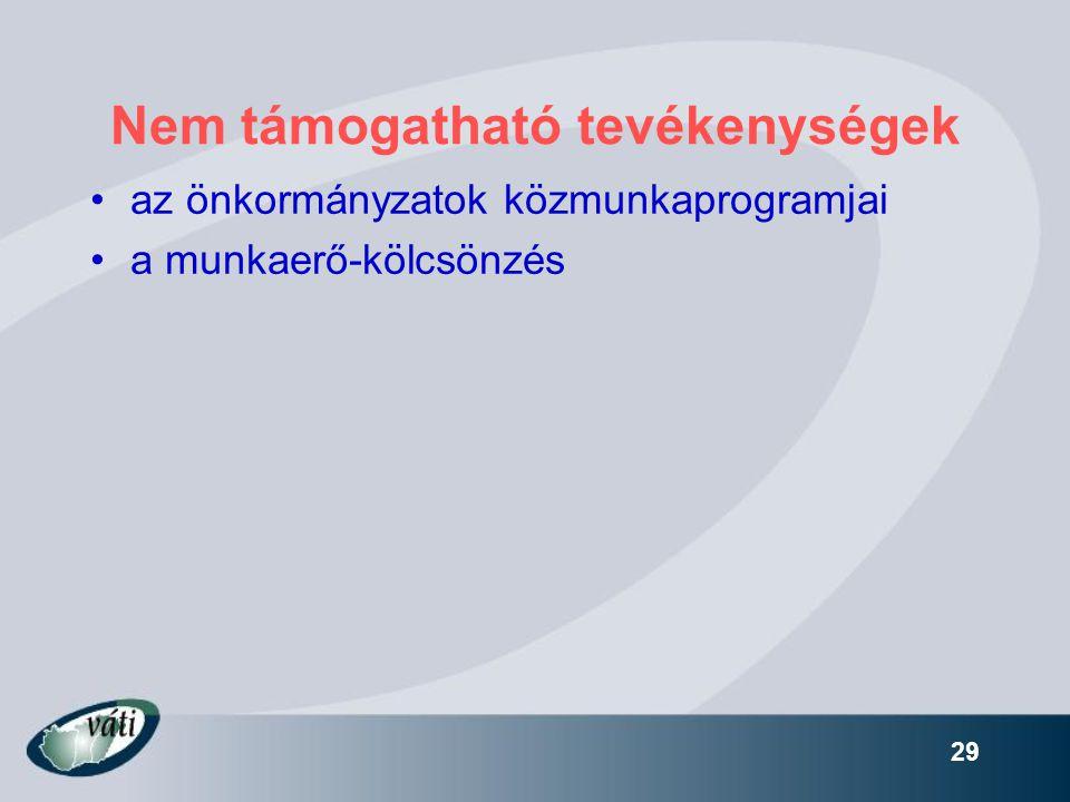29 Nem támogatható tevékenységek •az önkormányzatok közmunkaprogramjai •a munkaerő-kölcsönzés