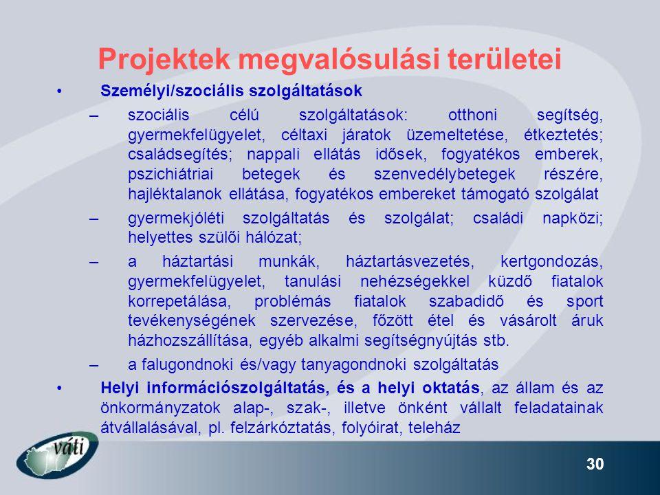 30 Projektek megvalósulási területei •Személyi/szociális szolgáltatások –szociális célú szolgáltatások: otthoni segítség, gyermekfelügyelet, céltaxi j